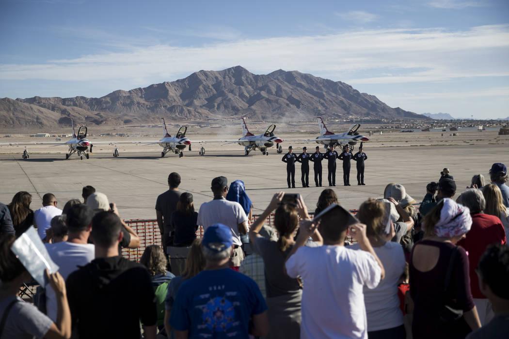 Thunderbirds pilots before performing during Aviation Nation at Nellis Air Force Base in Las Vegas, Saturday, Nov. 11, 2017. Erik Verduzco Las Vegas Review-Journal @Erik_Verduzco