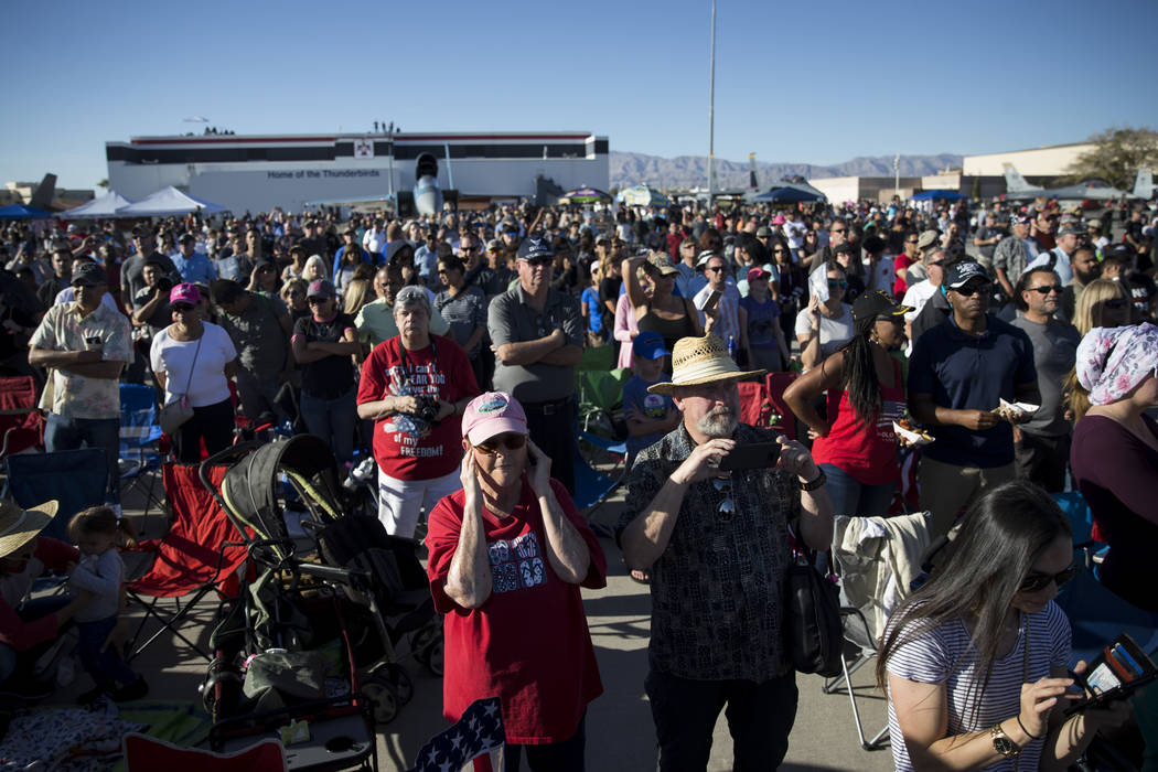 People watch as the Thunderbirds get ready to perform during Aviation Nation at Nellis Air Force Base in Las Vegas, Saturday, Nov. 11, 2017. Erik Verduzco Las Vegas Review-Journal @Erik_Verduzco