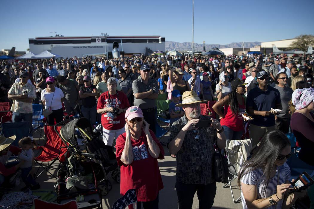 People watch as the Thunderbirds get ready to perform during Aviation Nation at Nellis Air Force Base in Las Vegas, Saturday, Nov. 11, 2017. Erik Verduzco Las Vegas Review-Journal @Erik_Verduzco