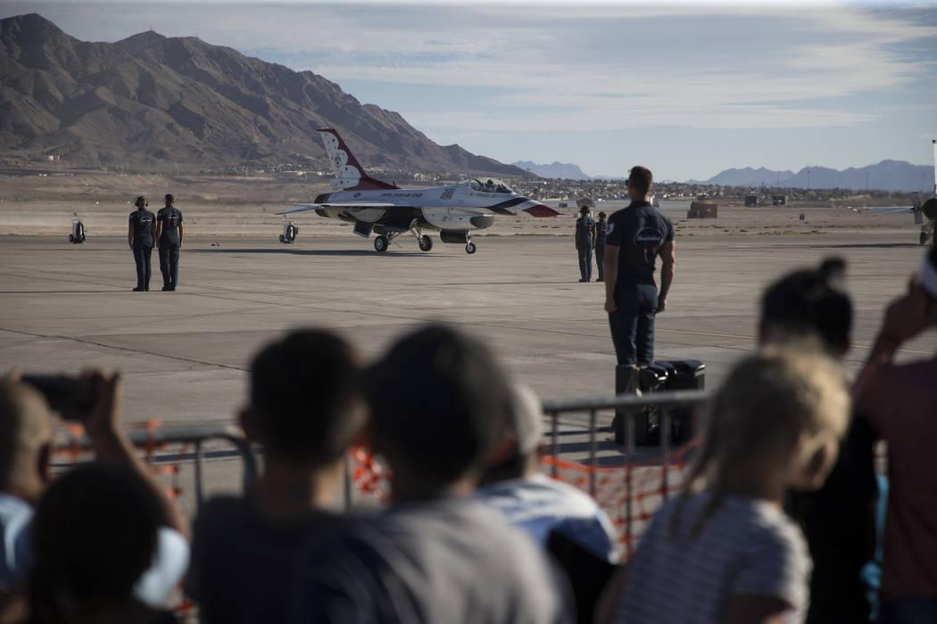 Thunderbirds Pilot Maj. Whit Collins gets ready to perform during Aviation Nation at Nellis Air Force Base in Las Vegas, Saturday, Nov. 11, 2017. Erik Verduzco Las Vegas Review-Journal @Erik_Verduzco