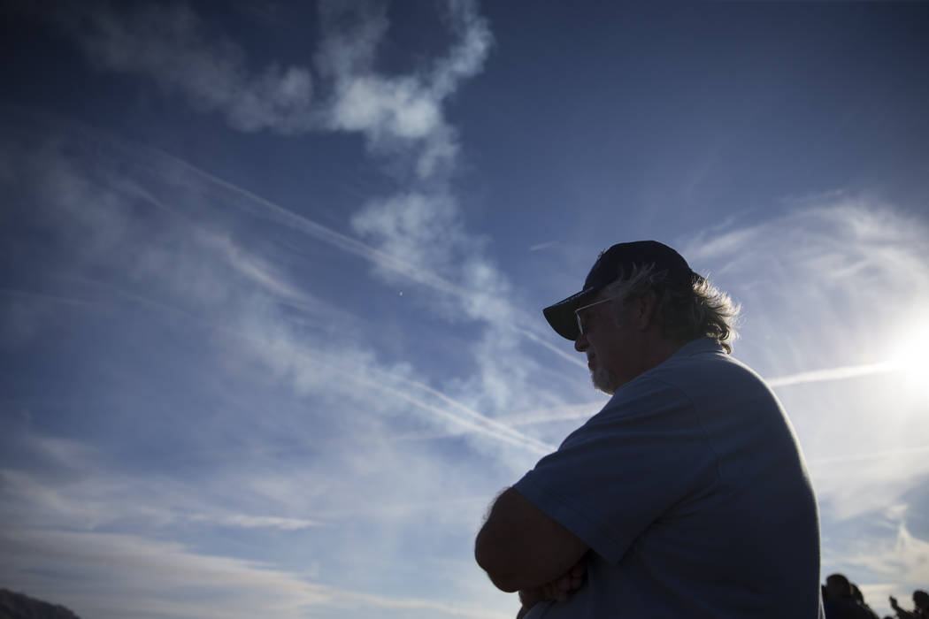 Tim Milliron of Gardnerville, Nev., watches the Thunderbirds perform during Aviation Nation at Nellis Air Force Base in Las Vegas, Saturday, Nov. 11, 2017. Erik Verduzco Las Vegas Review-Journal @ ...