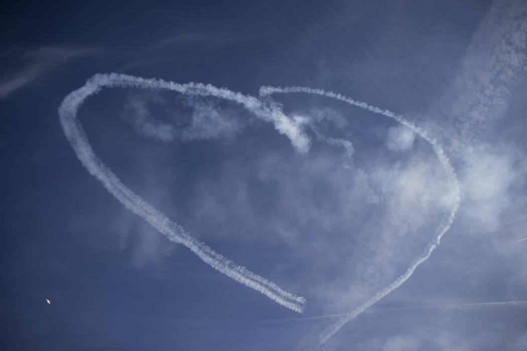 The Thunderbirds make heart shape in the air while performing during Aviation Nation at Nellis Air Force Base in Las Vegas, Saturday, Nov. 11, 2017. Erik Verduzco Las Vegas Review-Journal @Erik_Ve ...