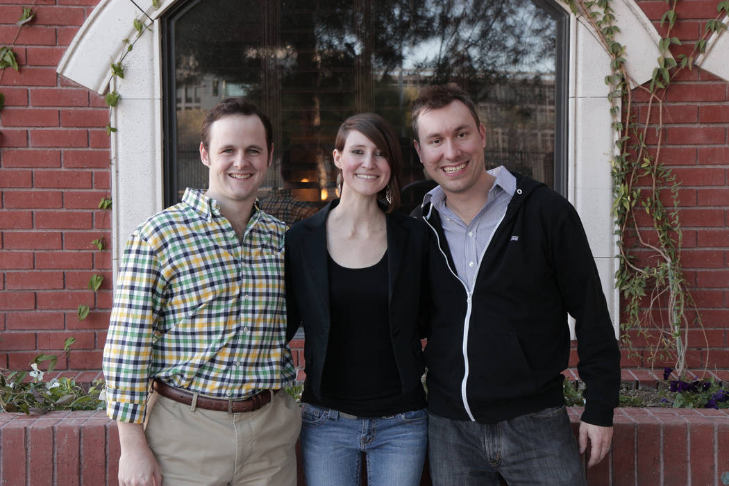 Rob Mather, left, Claire Cummings and Mike Ziethlow following a Las Vegas Startup Weekend in 2015 that led to Mather and Ziethlow launching www.busker.fm. Mike Ziethlow