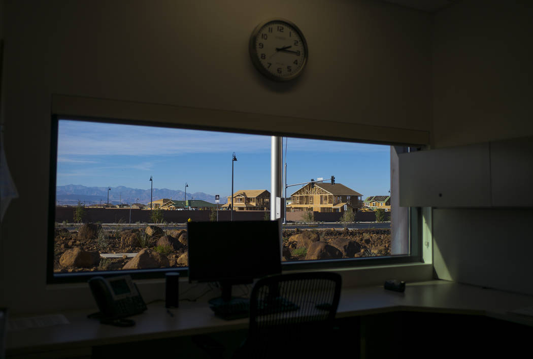 The view from the captain's office during a tour of Fire Station 91 in Henderson on Friday, Nov. 10, 2017. The new facility is the 10th fire station in Henderson, serving the Inspirada and Medeira ...