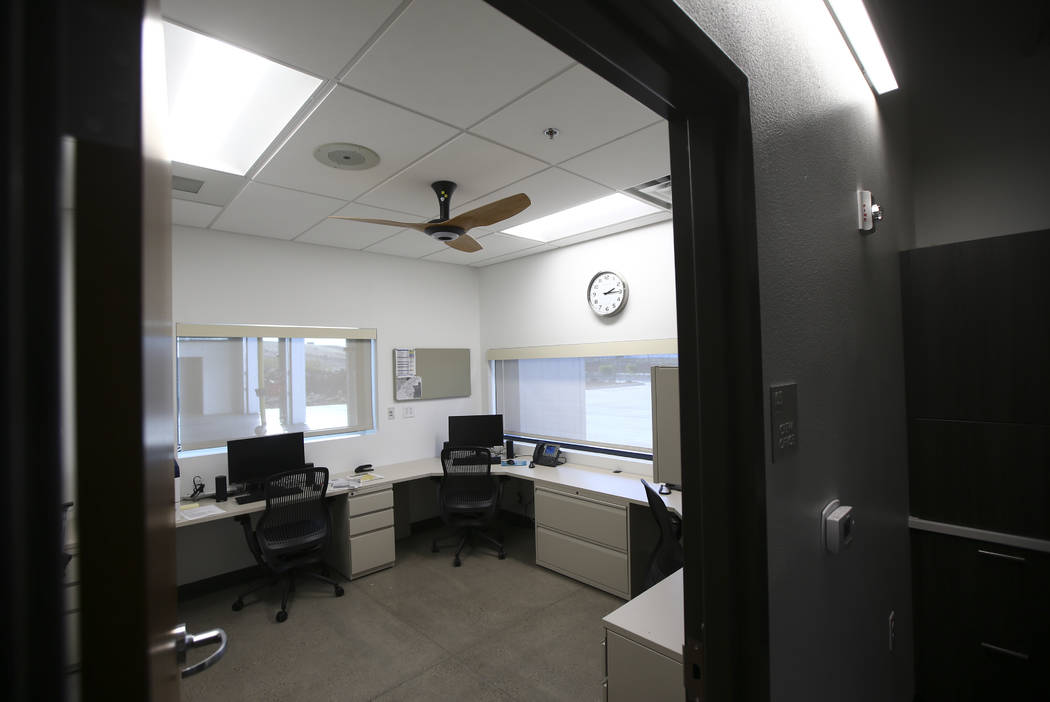 An office area for the crew during a tour of Fire Station 91 in Henderson on Friday, Nov. 10, 2017. The new facility is the 10th fire station in Henderson, serving the Inspirada and Medeira Canyon ...
