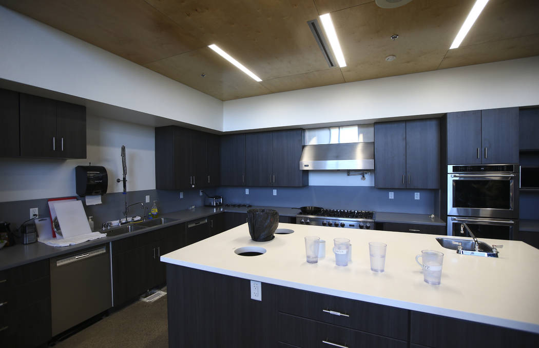 The kitchen and dining area during a tour of Fire Station 91 in Henderson on Friday, Nov. 10, 2017. The new facility is the 10th fire station in Henderson, serving the Inspirada and Medeira Canyon ...