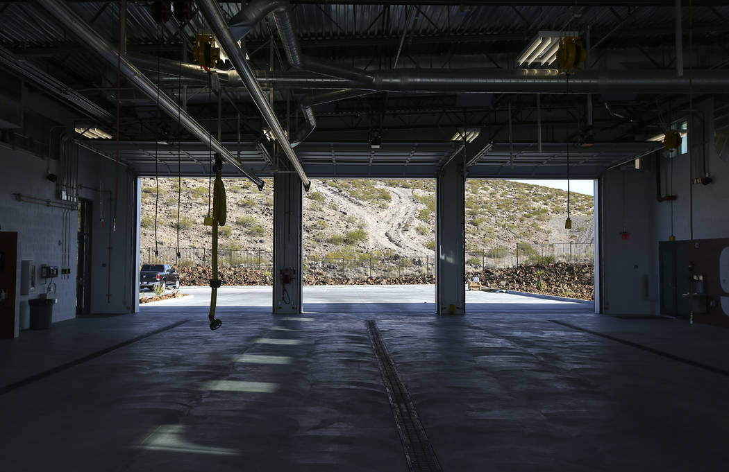 A view of the apparatus bay during a tour of Fire Station 91 in Henderson on Friday, Nov. 10, 2017. The new facility is the 10th fire station in Henderson, serving the Inspirada and Medeira Canyon ...