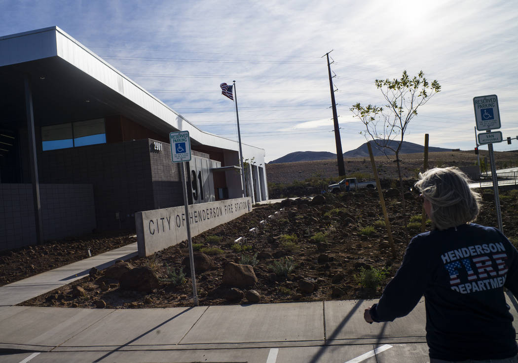 Henderson Fire Department spokeswoman Kathleen Richards leads a tour of Fire Station 91 in Henderson on Friday, Nov. 10, 2017. The new facility is the 10th fire station in Henderson, serving the I ...