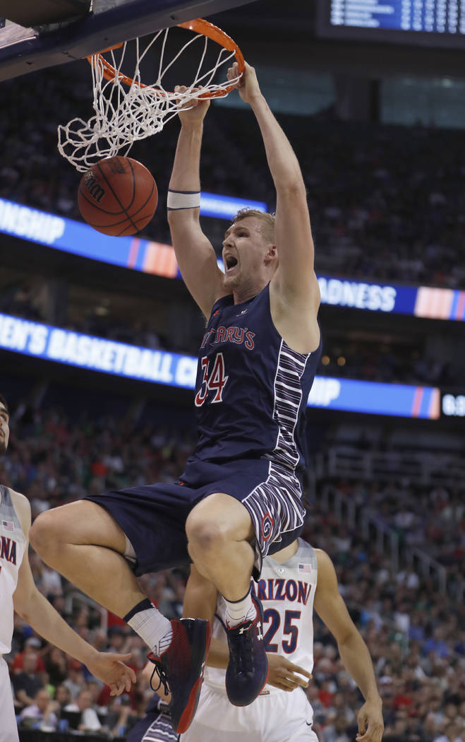 Saint Mary's center Jock Landale (34) dunks during the first half of a second-round college basketball game against Arizona in the men's NCAA Tournament, Saturday, March 18, 2017, in Salt Lake Cit ...