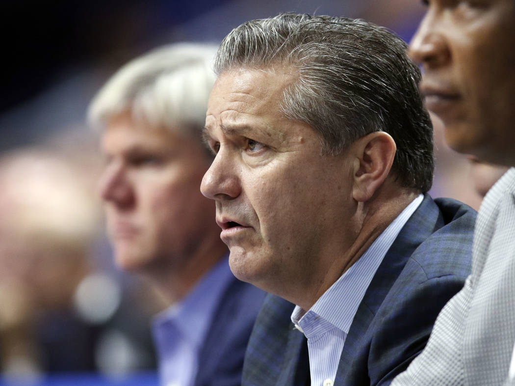 Kentucky head coach John Calipari watches his team from the bench during the second half of an NCAA college basketball exhibition game against Centre, Friday, Nov. 3, 2017, in Lexington, Ky. (AP P ...