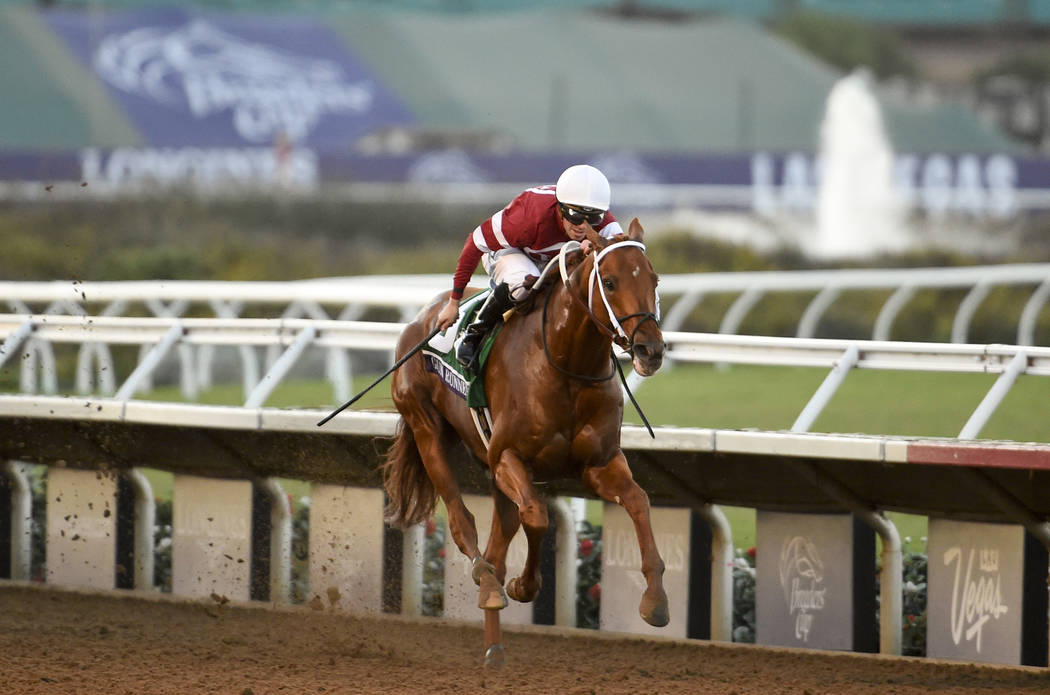 Florent Geroux rides Gun Runner to victory in the Classic during the Breeders' Cup horse races, Saturday, Nov. 4, 2017, in Del Mar, Calif. (AP Photo/Denis Poroy)