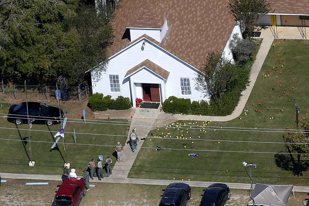 First Baptist Church Wednesday, Nov. 8, 2017, in Sutherland Springs, Texas. A man opened fire inside the church in the small South Texas community on Sunday, killing more than two dozen and injuri ...