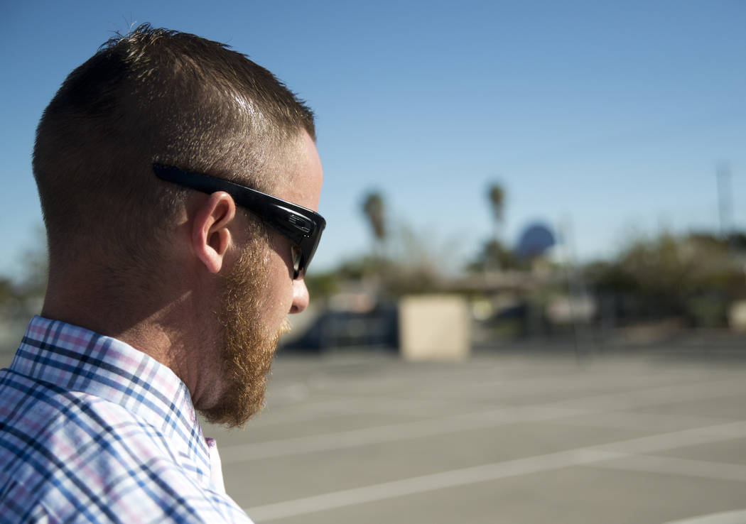 Iraq war veteran, and current Literacy Specialist at JM Ullom Elementary School, Colin Donohue walks to his classroom at JM Ullom Elementary School in Las Vegas on Wednesday, Nov. 9, 2017. Donohue ...