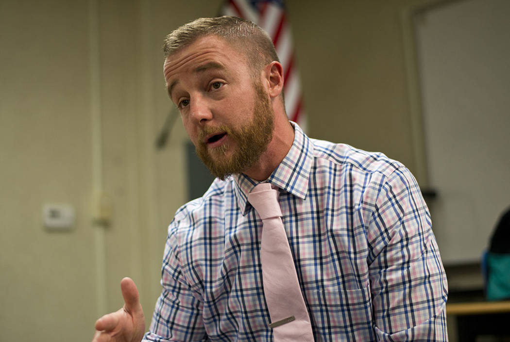 Colin Donohue, an Iraq war veteran and literacy specialist, speaks with a reporter in his classroom at JM Ullom Elementary School in Las Vegas on Wednesday, Nov. 9, 2017. Donohue had recently retu ...