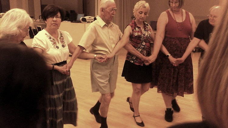 Balkan dancer John Filcich leads a lesson with The Ethnic Express in September 2013. (Courtesy)