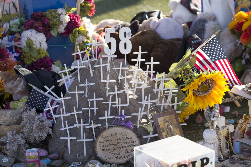 Messages and mementos left behind at a memorial for Route 91 Harvest shooting victims at the Welcome to Fabulous Las Vegas sign, Thursday, Nov. 9, 2017. Richard Brian Las Vegas Review-Journal @veg ...
