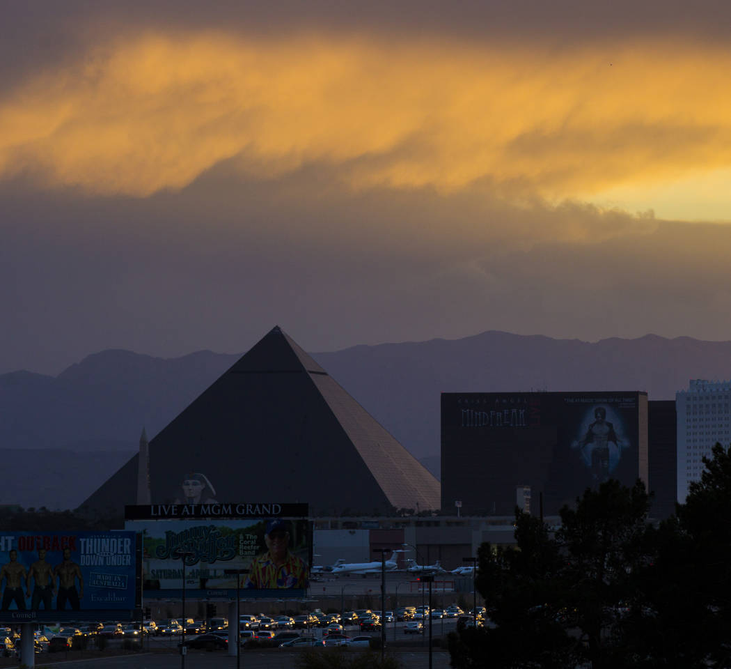 The Luxor hotel-casino as skies begin to clear at sunset after high winds kicked up dust, lowering visibility for hours, in Las Vegas on Thursday, March 30, 2017. (Chase Stevens/Las Vegas Review-J ...