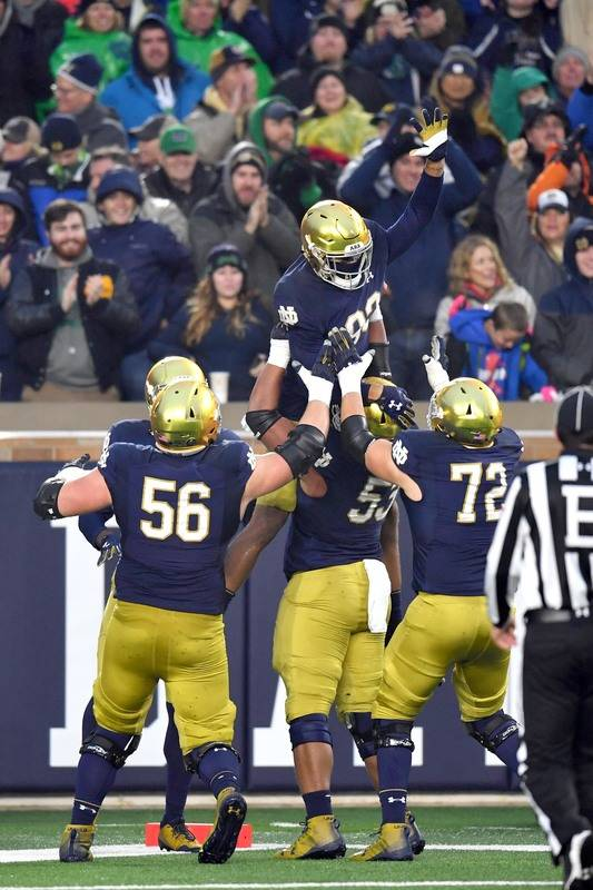 Nov 4, 2017; South Bend, IN, USA; Notre Dame Fighting Irish wide receiver Chase Claypool (83) celebrates after a touchdown in the third quarter against the Wake Forest Demon Deacons at Notre Dame  ...