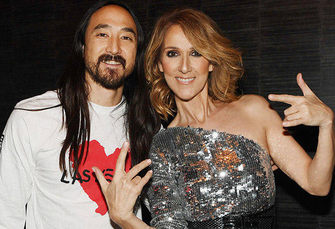 DJ Steve Aoki and Celine Dion at Tuesday night's Vegas Strong benefit show held at the Omnia nightclub in Caesars Palace. (Courtesy)