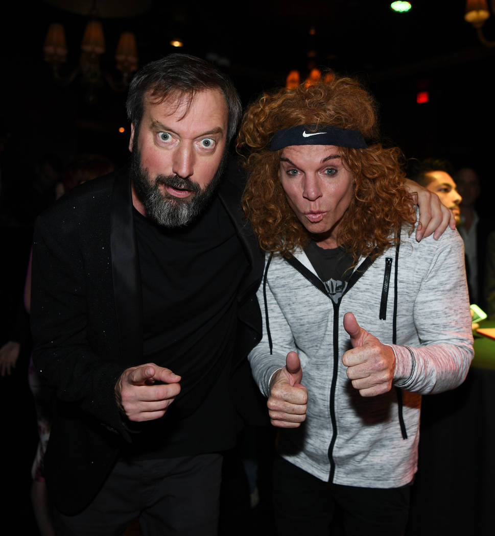 Tom Green and Carrot Top at the opening of Green's show at Bally's on Nov. 8. (Denise Truscello)