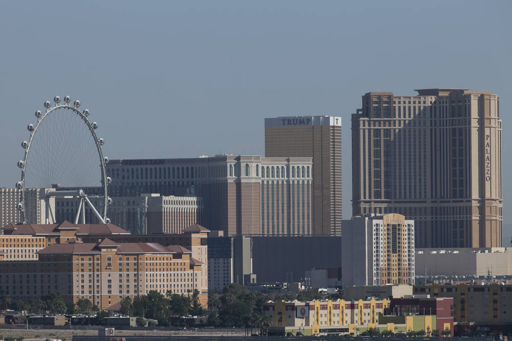 The Las Vegas Strip skyline as seen from McCarran in Las Vegas. Richard Brian Las Vegas Review-Journal @vegasphotograph
