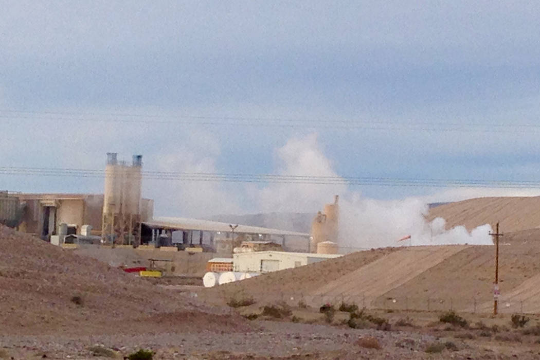 A plume of steam rises into the sky Monday morning from the US Ecology hazardous waste facility on U.S. Highway 95 south of Beatty. Daniel Patterson
