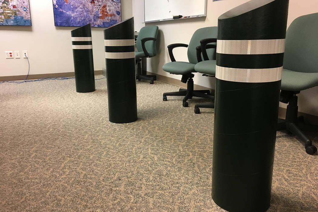 Cardboard replica bollards inside the Clark County Government Center. (Michael Scott Davidson/Las Vegas Review-Journal)