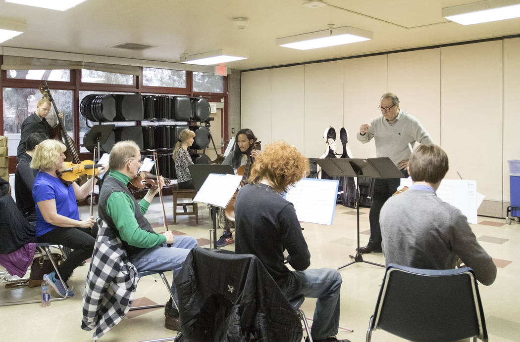 Music director Oscar Carrescia conducts a rehearsal for Tango Passional on Saturday, Feb. 25, 2017, at the Winchester Cultural Center in Las Vegas. (Heidi Fang/Las Vegas Review-Journal) @HeidiFang