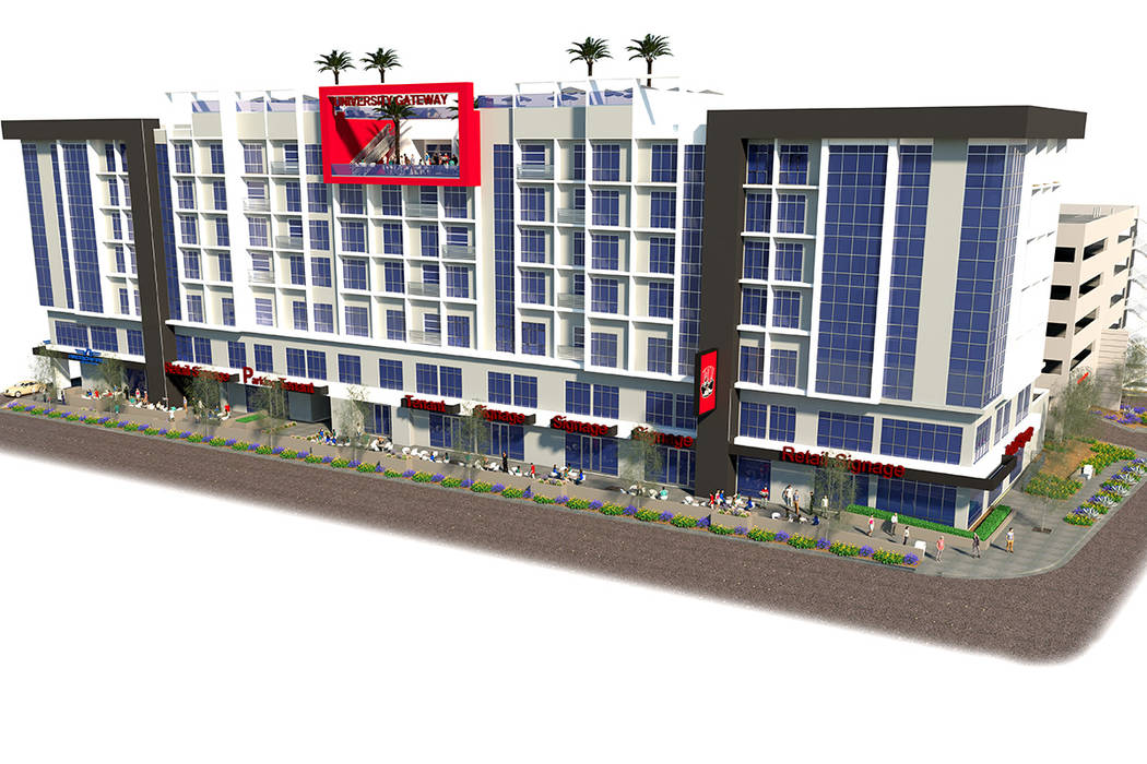 A rendering of a seven-story building, which will feature retail and office space, along with apartments, to be built on Maryland Parkway. The project received approval on Wednesday, Nov. 8 from t ...