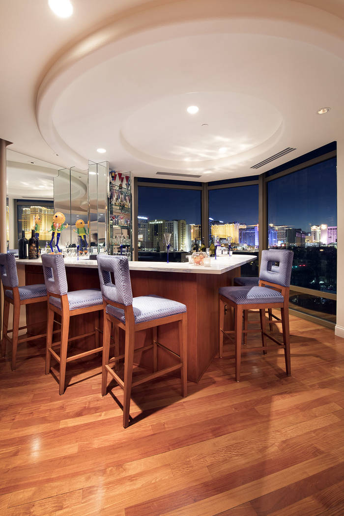 The bar has views of the Strip. (Synergy|Sotheby's International Realty)