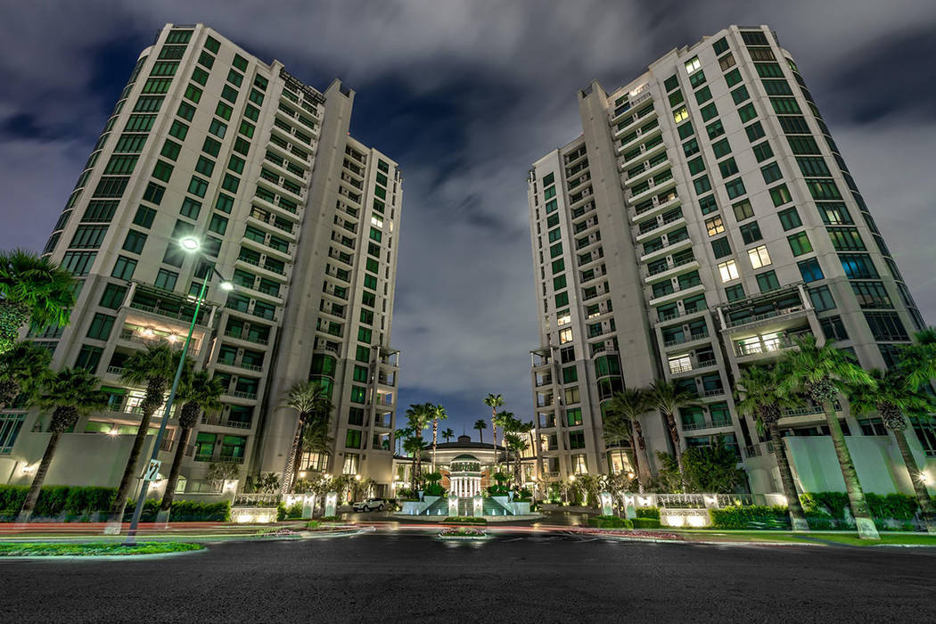 Park Towers, a high-rise condo adjacent to the Hughes Center office complex east of the Strip, opened in 2001. It is undergoing a multimillion face-lift. (Synergy|Sotheby's International Realty)