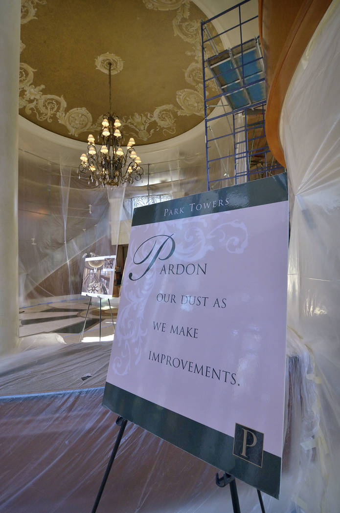 The lobby of Park Towers at Hughes Center is shown during renovation. (Bill Hughes Real Estate Millions)