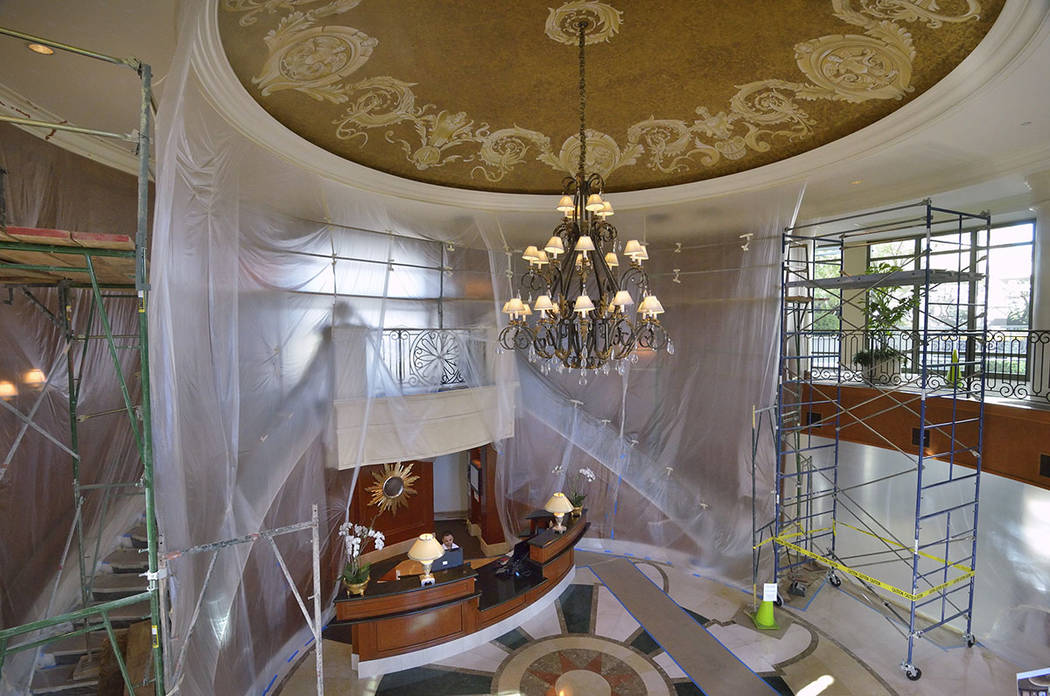 The lobby of Park Towers at Hughes Center is shown during renovation at 1 Hughes Center Drive in Las Vegas on Tuesday, Oct. 23, 2017. (Bill Hughes/Las Vegas Business Press)