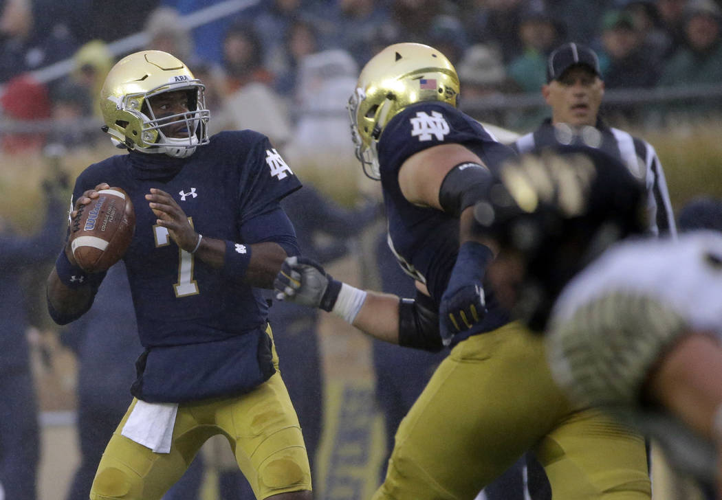 Notre Dame quarterback Brandon Wimbush looks to pass against Wake Forest during the first half of an NCAA college football game Saturday, Nov. 4, 2017, in South Bend, Ind. (AP Photo/Nam Y. Huh)