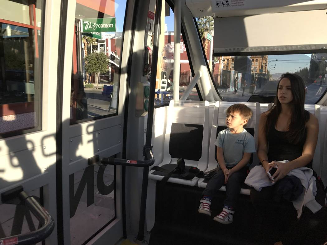The driverless electric shuttle in downtown Las Vegas, pictured on Nov. 9, 2017, is back on the road one day after it was involved in an accident with a truck. Erik Verduzco Las Vegas Review-Journ ...