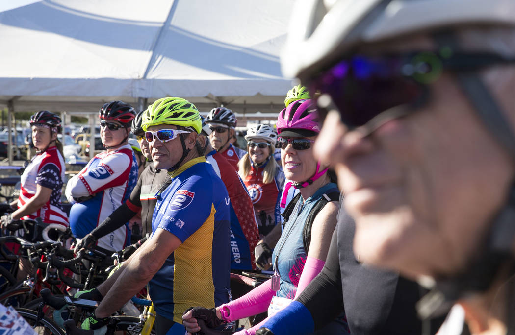 Cyclists line up at the starting line ahead the Project Hero Honor Ride in Las Vegas, Saturday, Nov. 11, 2017. Over 700 riders participated in the non-competitive race to raise funds and bring awa ...