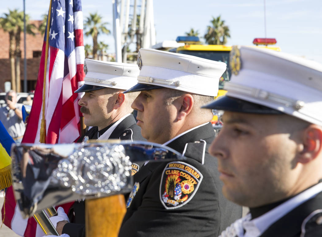 Members of the Clark County Fire Department Honor Guard present the colors ahead of the Project Hero Honor Ride in Las Vegas, Saturday, Nov. 11, 2017. Over 700 riders participated in the non-compe ...