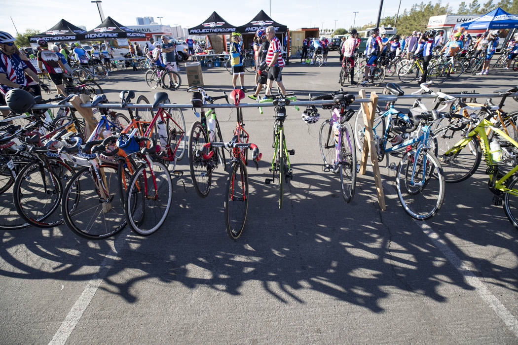 Parked bicycles ahead of the Project Hero Honor Ride in Las Vegas, Saturday, Nov. 11, 2017. Over 700 riders participated in the non-competitive race to raise funds and bring awareness to veteran s ...