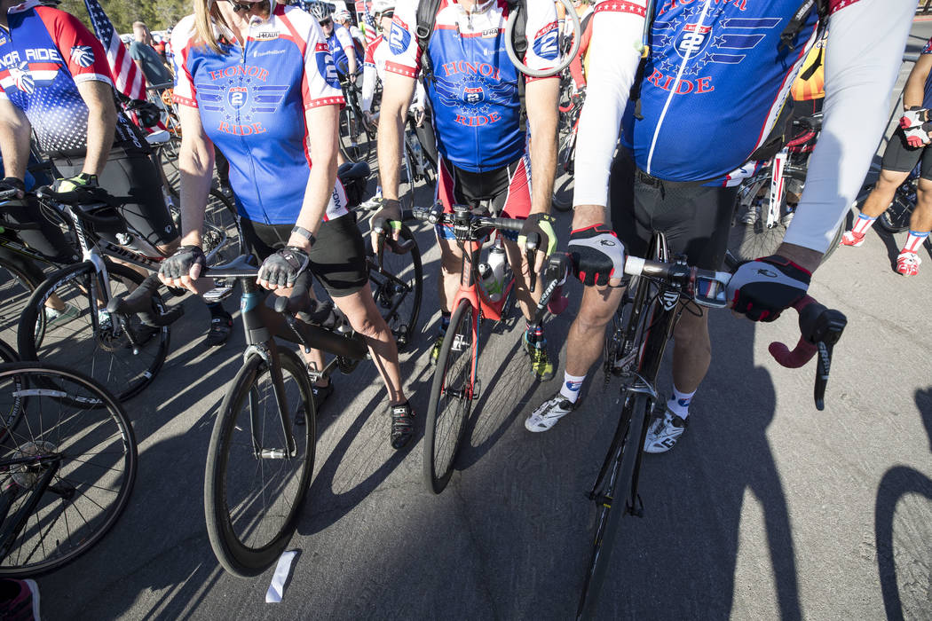 Cyclists wait at the starting line ahead of the Project Hero Honor Ride in Las Vegas, Saturday, Nov. 11, 2017. Over 700 riders participated in the non-competitive race to raise funds and bring awa ...