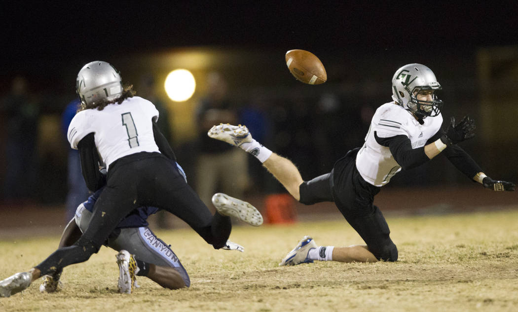 A Canyon Springs pass is incomplete in a playoff football game against Green Valley at Canyon Springs High School in Las Vegas, Thursday, Nov. 9, 2017. Green Valley won 14-7. Erik Verduzco Las Veg ...