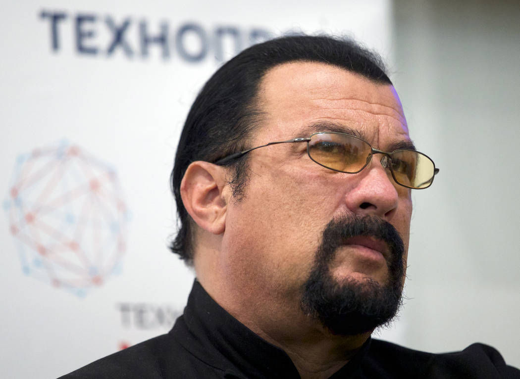 Actor Steven Seagal speaks at a news conference Sept. 22, 2015, while attending an opening ceremony for a research and development center in Moscow, Russia. Jenny McCarthy said on her Sirius XM sh ...