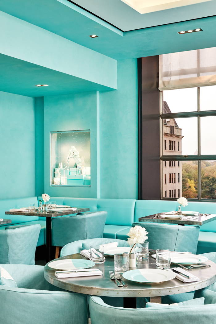 This undated handout photo provided by Tiffany & Co. shows the Blue Box Cafe restaurant, which opened to the public on Nov. 10, 2017, at the jewelry retail chain's flagship Fifth Avenue store  ...
