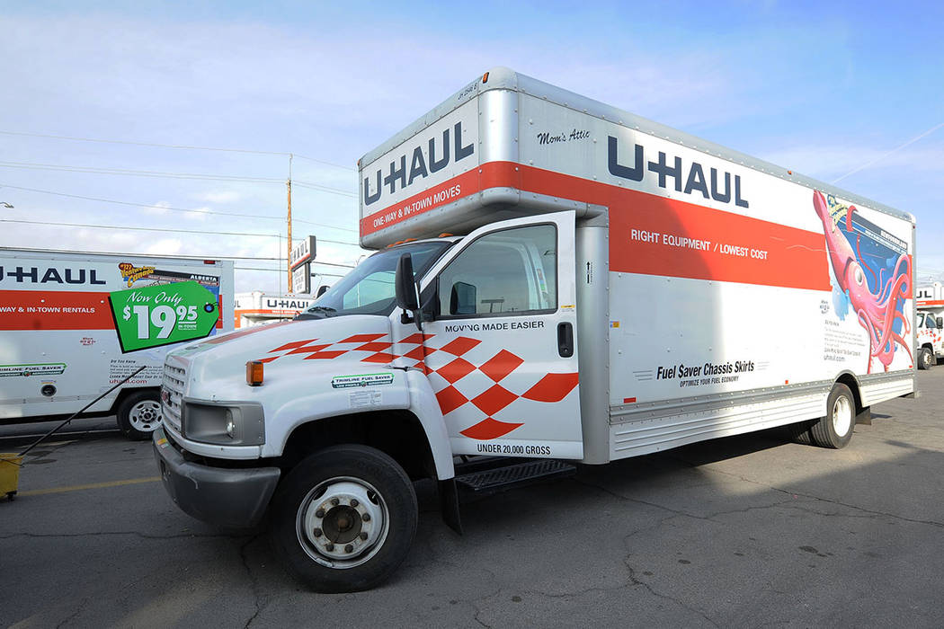 A 26-foot truck at the U-Haul center at 2001 W. Bonanza Rd., in Las Vegas, Friday, Feb. 7, 2014. (Jerry Henkel/Las Vegas Review-Journal)
