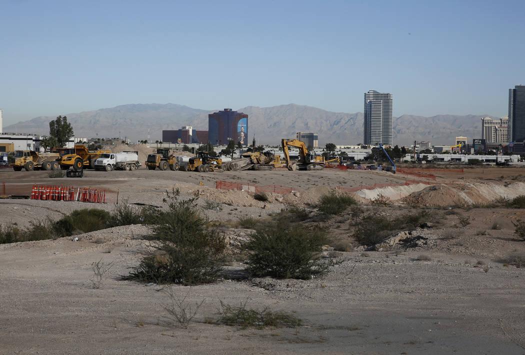 Heavy construction trucks inside the Raiders stadium site, near Hacienda Avenue and Dean Martin Drive on Tuesday, Nov. 7, 2017, in Las Vegas. Bizuayehu Tesfaye/Las Vegas Review-Journal @bizutesfaye