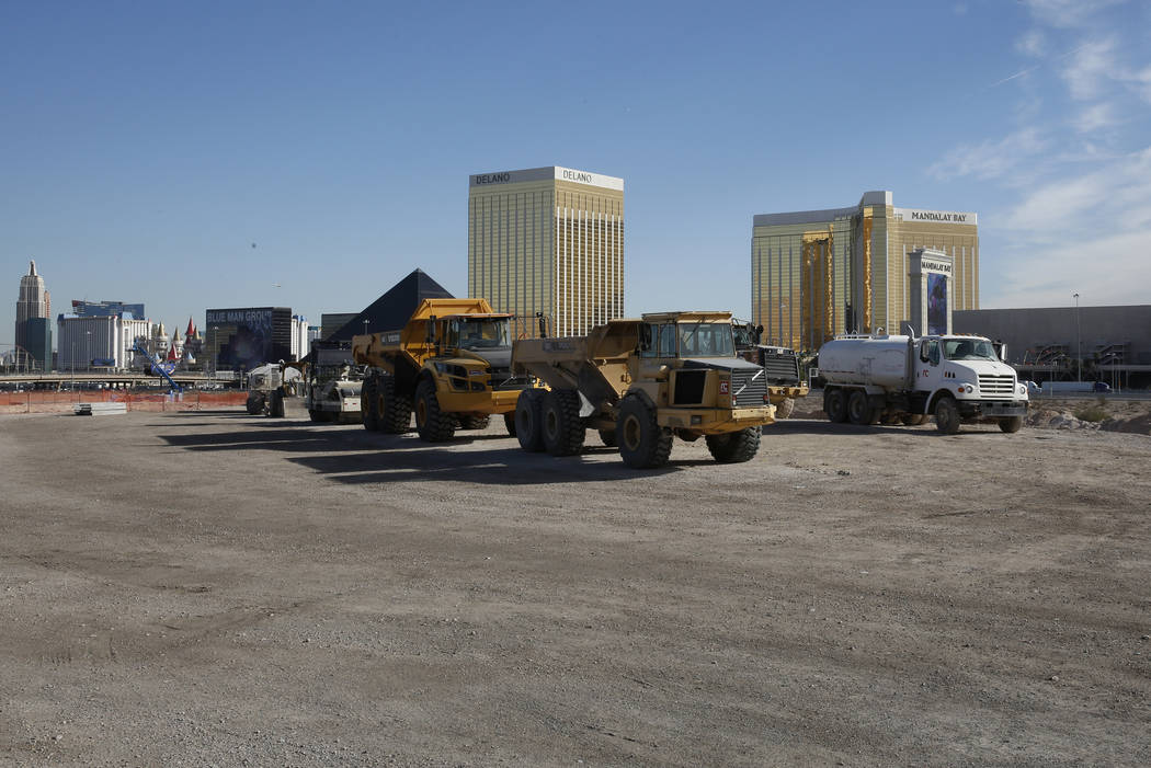 Heavy construction trucks inside the Raiders stadium site, near Hacienda Avenue and Dean Martin Drive on Tuesday, Nov. 7, 2017, in Las Vegas. Bizuayehu Tesfaye/Las Vegas Review-Journal @bizutesfaye