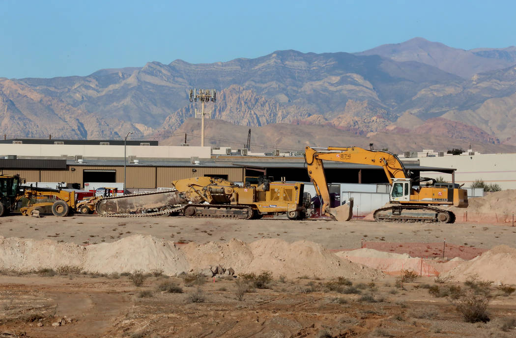 Heavy construction equipments inside the Raiders stadium site, near Hacienda Avenue and Dean Martin Drive on Tuesday, Nov. 7, 2017, in Las Vegas. Bizuayehu Tesfaye/Las Vegas Review-Journal @bizute ...