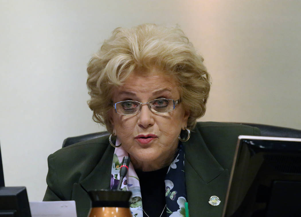 Las Vegas Mayor Carolyn Goodman speaks during the City Council meeting at Las Vegas City Hall Wednesday, Nov. 15, 2017. The council is expected to vote on a controversial repeal of a ban that woul ...