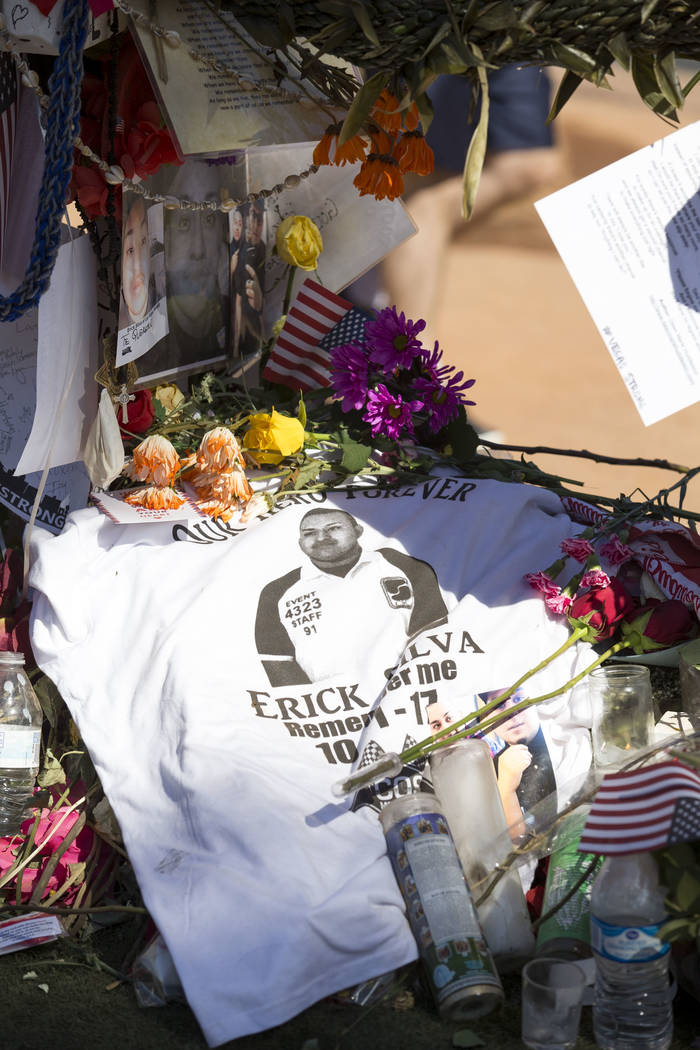 The cross of Erick Silva, 21, of Las Vegas at a memorial for Route 91 Harvest shooting victims at the Welcome to Fabulous Las Vegas sign, Sunday, Oct. 15, 2017. Richard Brian Las Vegas Review-Jour ...