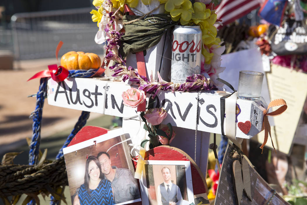 The cross of Austin Davis, 29, of Colton, California at a memorial for Route 91 Harvest shooting victims at the Welcome to Fabulous Las Vegas sign, Sunday, Oct. 15, 2017. Richard Brian Las Vegas R ...