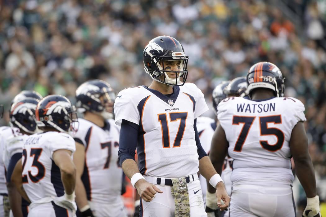 Denver Broncos' Brock Osweiler (17) during an NFL football game against the Philadelphia Eagles, Sunday, Nov. 5, 2017, in Philadelphia. (AP Photo/Matt Rourke)